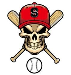 skull wear a baseball hat vector image