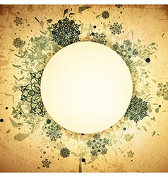 Winter Round Grunge Frame vector image vector image
