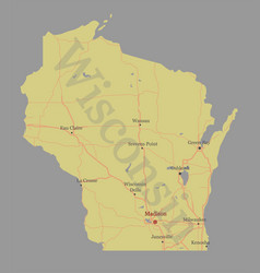 wisconsin accurate exact detailed state map vector image