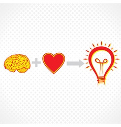 addition of brain and heart create new idea vector image