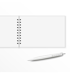 Blank notebook with pen vector image