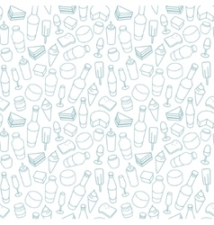 Blue food line icon seamless pattern vector image vector image