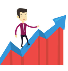 Business man standing on profit chart vector