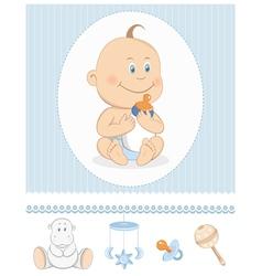 Cartoon baby boy with milk bottle vector image vector image