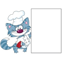 cat the cook with blank vector image vector image