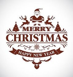 Christmas greeting decorative emblem vector image vector image