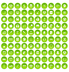 100 education icons set green circle vector