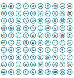100 recreational activities icons set cartoon vector