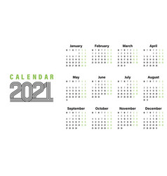 2021 calendar template simple design vector