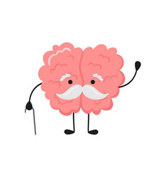 A kawaii old brain character with gray mustache vector