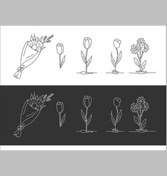 a set of drawn flowers black and white options vector image
