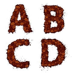 ABCD english alphabet letters made of coffee vector