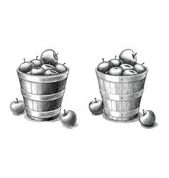 apple in basket hand drawing vintage style black vector image
