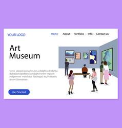 Art museum landing page gallery exhibition vector