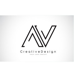Av letter logo design in black colors vector