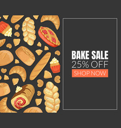 bake sale card template with baking products vector image