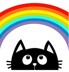 Black cat looking up to big rainbow cute cartoon vector