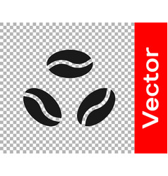 black coffee beans icon isolated on transparent vector image