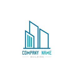 blue real building logo on white background vector image