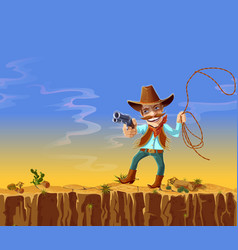 Cartoon american cowboy with gun and lasso vector