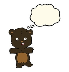 Cartoon cute black bear cub with thought bubble vector