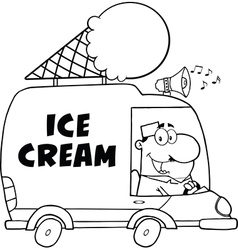 Cartoon ice cream truck vector image