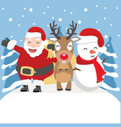 christmas santa claus with tree background vector image
