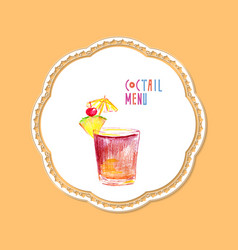 cocktail hand drawn vector image