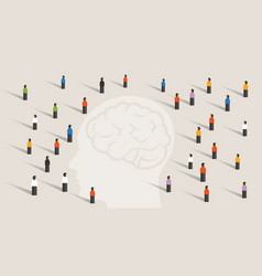 Crowd many people group with large head mind vector