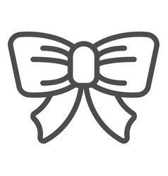 cute bow line icon gift knot vector image