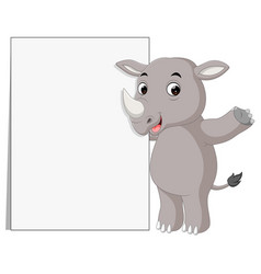 cute rhino cartoon with blank sign vector image