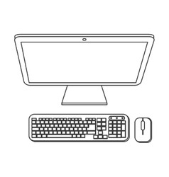 Desk computer icon vector