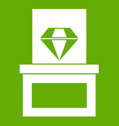 diamond in box icon green vector image