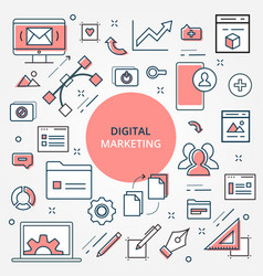 digital marketing and business icon set vector image