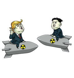 Donald trump vs kim jong un on nuclear weapon vector