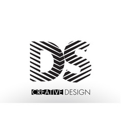 Ds d s lines letter design with creative elegant vector