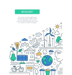 Ecology - line design brochure poster template A4 vector image