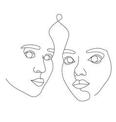 female faces drawn with continuous line vector image