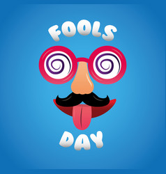 Fools day cheerful mask glasses mustache nose vector