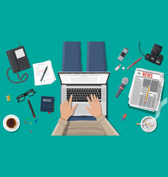 Freelance writer or journalist workplace vector