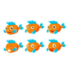 Funny orange fish with different emotions set vector