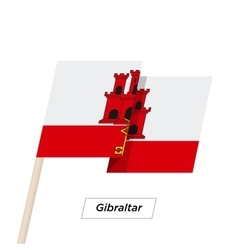 Gibraltar Ribbon Waving Flag Isolated on White vector image