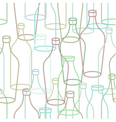 glass bottle seamless pattern empty transparent vector image