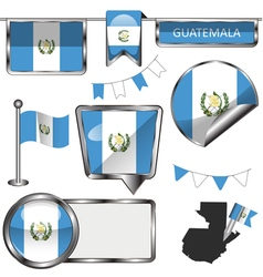 Glossy icons with Guatemalan flag vector