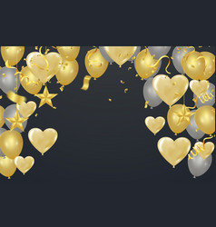 gold background with balloons and heart balloons vector image