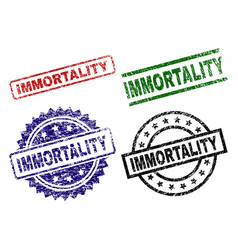 Grunge textured immortality seal stamps vector