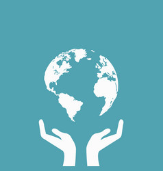 hands holding globe earth web icon save earth vector image