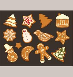 happy holidays christmas traditonal cookies vector image