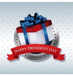 Happy president day present gift ribbon label vector