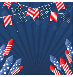 independence day america with confetti and ribb vector image
